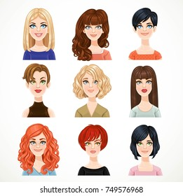 Set of portraits of avatars of cute different women isolated on a white background