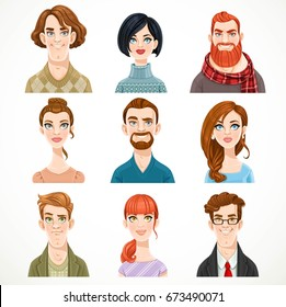 Set of portraits of avatars of cute men and women isolated on a white background