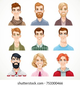 Set of portraits of avatars of different casual men isolated on a white background