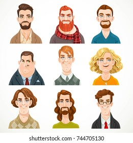 Set of portraits of avatars of different men isolated on a white background