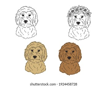 Set of portraits of labradoodle. Collection of heads of fluffy dogs with flower crown. Print for clothes. Black and white of illustration a cute pets. Tattoo Groodle.