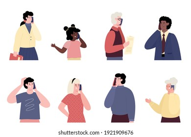 Set of portraits of people talking on mobile phone. Communicating, speaking and dialog of persons via smartphone. Flat vector illustrations isolated on white background