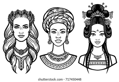 Set of portraits of young beautiful women of the different countries. Vector illustration isolated on a white background. Print, poster, emblem, card, t-shirt.
