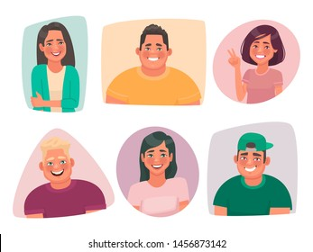 Set of portraits of young happy people. Avatars of smiling guys and girls of students. Joyful characters of men and women on a white background. Vector illustration in cartoon style