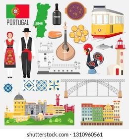 Set with portuguese symbols and landmarks: fado, costume, port wine, tram, Sintra, old Porto, dom luis, cabo de roca, Belem tower, feijoada, pastel de nata. Travel Portugal elements in flat, vector