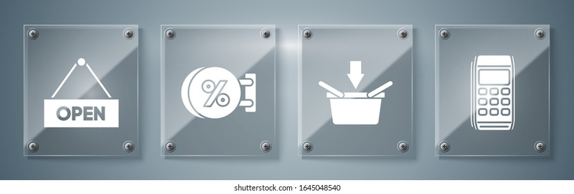 Set Pos terminal, Shopping basket, Signboard hanging with an inscription discount percent and Hanging sign with text Open door. Square glass panels. Vector