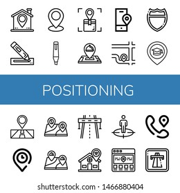 Set of positioning icons such as Location, Marker, Highway, Place, Position , positioning