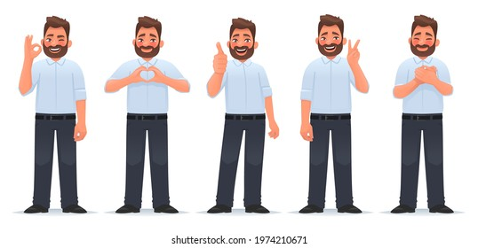 Set of positive and approving gestures. Happy man shows a gesture of gratitude, okay, cool, heart and victory. Vector illustration in cartoon style