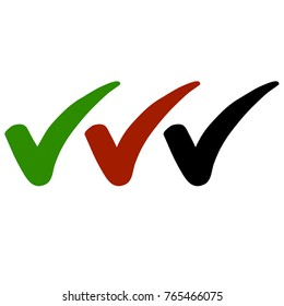 Set of Positive Check Marks in Green, Red & Black Colors Isolated on White Background