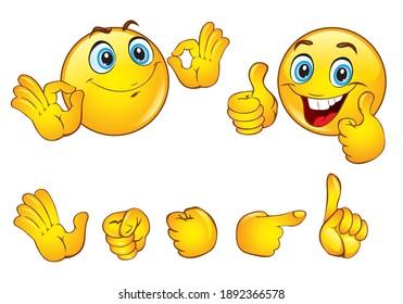 Set of positive emoticon smile icons. Cartoon emoji set. Vector on transparent background