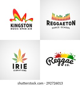 Set of positive ephiopia flag logo. Jamaica reggaeton dance music vector  template. African culture print design. Colorful kingston company concept
