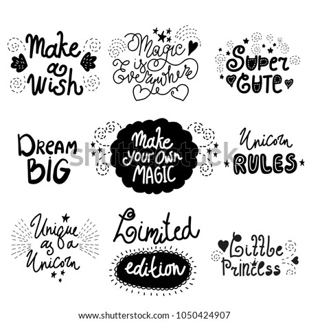 Set Positive Inspirational Quotes About Magic Stock Vector Royalty Inspiration Positive Inspirational Quotes