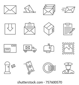 Set of post office Related Vector Line Icons. Includes such Icons as icon as letter, mailman, delivery, mail, courier, Inbox and etc.