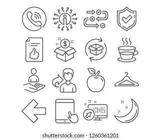 Set of Post package, Survey progress and Approved document icons. Tablet pc, Coffee cup and Left arrow signs. Return parcel, Recruitment and Cloakroom symbols. Postbox, Algorithm, Like symbol. Vector