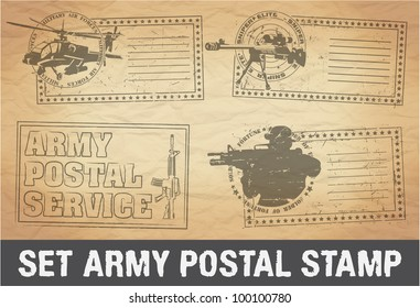 Set of postage stamps army