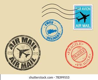 Set of postage symbols, vector illustration
