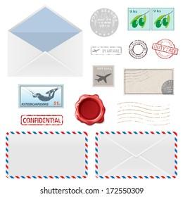 Set of Postal Business Icons, Envelopes, Stamps. Vector illustration.