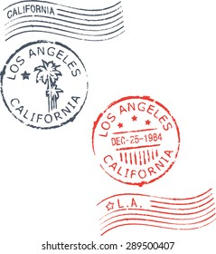 Set of postal grunge stamps 'Los Angeles-California'.Blue and red color.