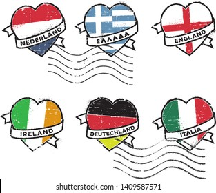 Set of postal rubber stamps, Netherlands, Greece, England, Ireland, Germany and Italy. Inscription in Dutch, Greek, English German and Italian. A ribbon wrapped around the heart with the flag.