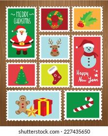 Set of postal stamps with Christmas