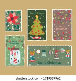 Set of postal stamps with Christmas decoration symbols. Vector illustration.