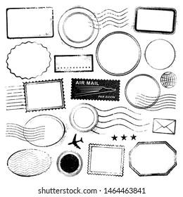Set of postal stamps and postmarks, black isolated on white background, vector illustration