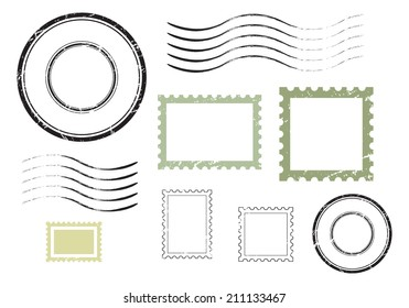 Set of postal stamps and postmarks, isolated on white background, vector illustration.