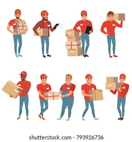 Set of postal workers in different poses. Courier or delivery service. Men characters with parcels packages boxes. Cheerful people in red uniform. Flat vector design