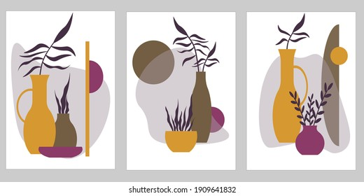 Set of postcard templates with vases and leaves. Shades of nature. Abstract vector illustration isolated on white background. For use in invitations, holiday greetings and decoration.