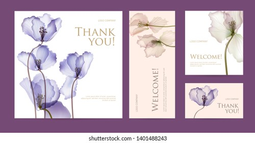 A set of postcard with the words of gratitude. Design template of business cards with abstract spring flowers for the hotel, beauty salon, spa, restaurant, club. Vector illustration