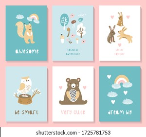 A set of postcards with a cute forest animals. Suitable for postcards, posters, printing, children's room. Creative vector childish background for fabric, textile
