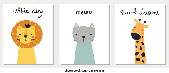 Set of postcards with funny animals, cat, giraffe, lion. Vector illustration for printing on fabric, packaging paper, postcard, Wallpaper, dishes, clothes, banner, poster. Cute baby background.