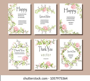 Set of postcards with pink flowers and green leaves. Vector illustration. Decorative invitation to the holiday. Wedding, birthday. A universal card.Pink roses .