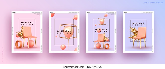 Set poster. Abstract minimal background. Geometric 3d shapes. Design Art composition realistic chairs, air gel balloon, round ball, palm branch, metal golden objects. Pink and gold