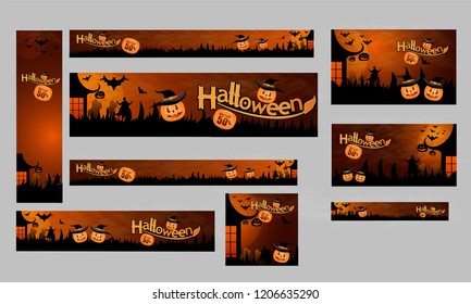 Set of poster or banner design, upto 50% discount offer for Happy Halloween party celebration pumpkins, haunted house and bats on horrible night background.