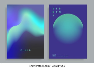 Set of poster covers with color vibrant gradient background. Trendy modern design. Vector templates for placards, banners, flyers, presentations and reports. Vector illustration. Eps10