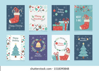 set of poster decoration celebration happy christmas
