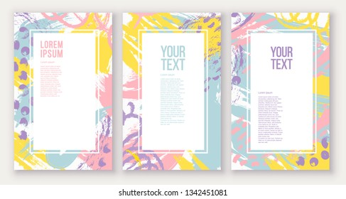 Set of poster, greeting, invitation card, template design, cover, party advertisement, flyer. Square card templates with abstract bright colored paint blotches, stains, drops, scribble, brush strokes.