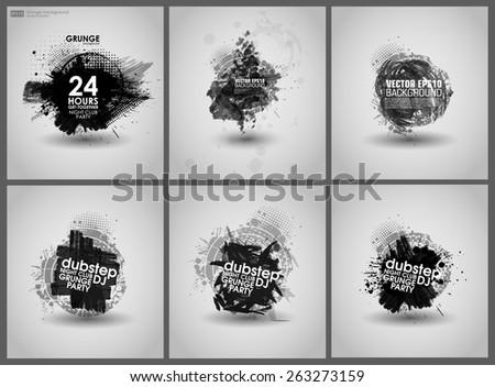 set poster grunge background vector grunge stock vector royalty