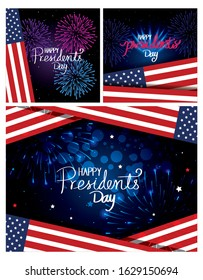 set poster of happy presidents day with decoration vector illustration design