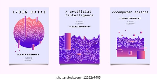 Set of posters for AI (artificial intelligence) conference, Big Data meetup, Hackathon with Glitch Art Minimal Geometric Composition. Cyberpunk/ synthwave style illustrations.