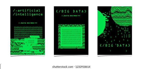 Set of posters for AI (artificial intelligence) conference, Big Data meetup, Hackathon. Cyberpunk/ synthwave style illustrations: matix of binary code, geometric composition with glitch artifact.