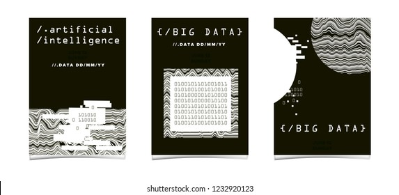 Set of posters for AI (artificial intelligence) conference, DevOps meetup, Hackathon. Cyberpunk/ synthwave style illustrations: matix of binary code, geometric composition with glitch artifact.