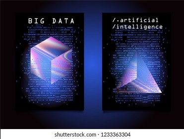 Set of posters for AI (artificial intelligence) conference, Big Data meetup, Hackathon. 3D Holographic Cube and Prism with binary lines of code glowing in the dark. Cyberpunk/ synthwave style.