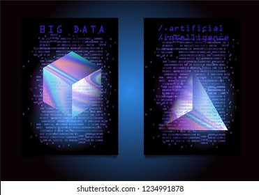 Set of posters for AI conference, Big Data meetup, Hackathon. 3D Holographic Cube and Prism with binary lines of code glowing in the dark. Cyberpunk/ synthwave/ retrowave 80s-90s style.