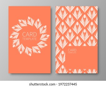 Set of posters, backgrounds with flowers and foliage of tulips. Ornaments from silhouettes of spring flowers. Wreaths, frames with place for text. Electric Tangerine color template.Vector illustration - Shutterstock ID 1972237445