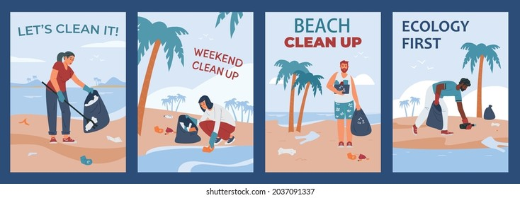 Set of posters with call to clean up trash and care for nature, ecology and environment. People on sea beach and ocean coast collect garbage into rubbish sacks. Vector illustration