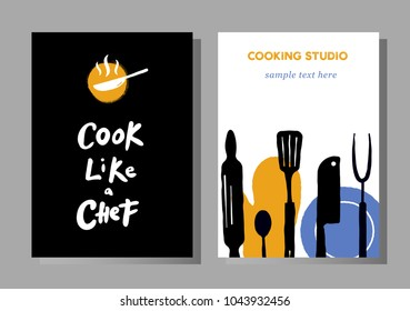 Set of posters for cooking masterclasses, food studio.  Cook like a chef. Lettering. Illustration of cooking process.