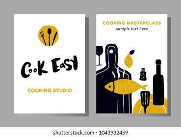 Set of posters for cooking masterclasses, food studio.  Cook easy. Lettering. Illustration of cooking process.