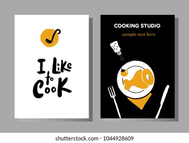 Set of posters for cooking masterclasses, food studio.  I like to cook. Lettering. Illustration of cooking process.